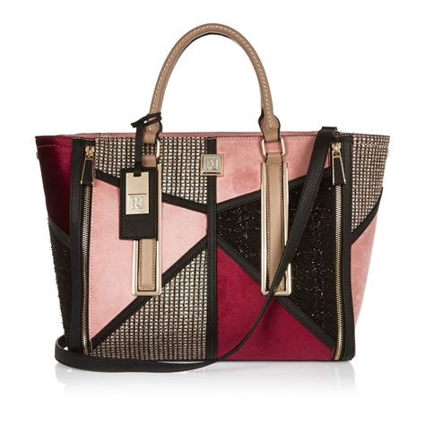 Patchwork Tote Bags - river island pink patchwork winged tote bag in pink lyst