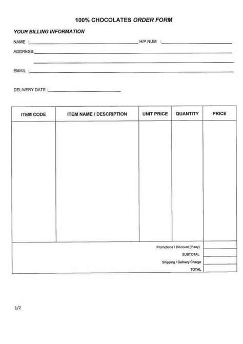 order slip template 20 best simple order form template word images on