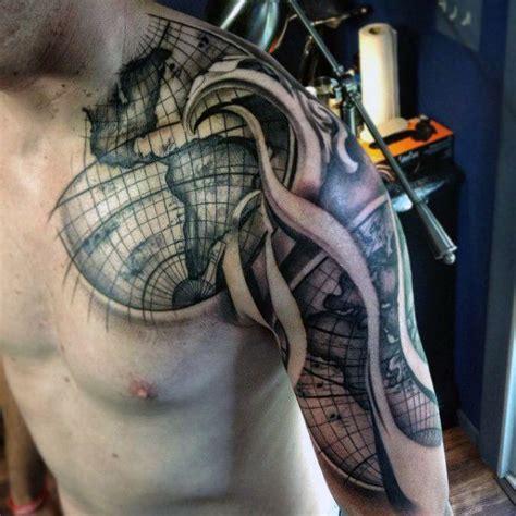 mens quarter sleeves globe and black waves tattoo