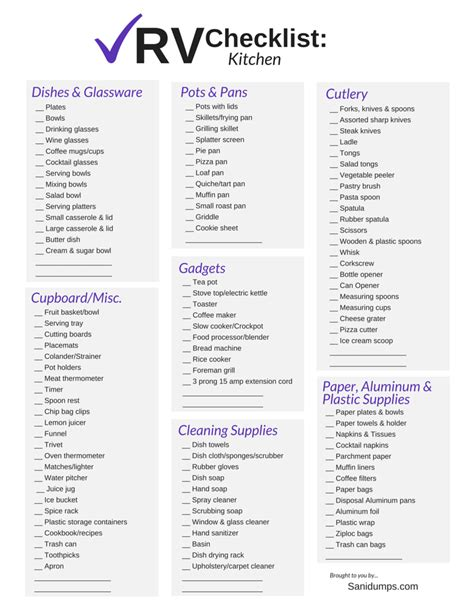 list of kitchen essentials for new home rv check list for rvers