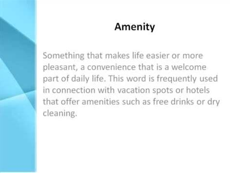 what are amenities amenity definition what does amenity mean youtube