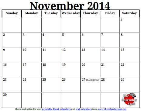 printable month calendar november 2014 9 best images of printable november monthly schedule