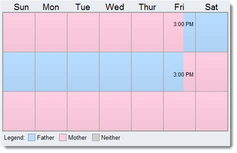70 30 Custody Visitation Schedules 4 Most Common Exles Every Other Weekend Schedule Template