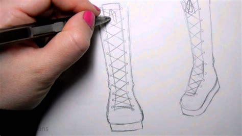 how to draw a boat from the front how to draw manga shoes tall lace up boot youtube