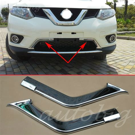 Garnis Depan X Trail 2015 Chrome chrome bumper front lower grille grill air cover trims for nissan x trail rogue t32 2014 2015