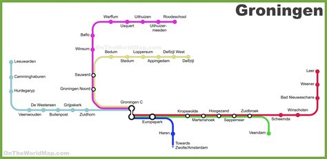 netherlands map groningen groningen province railway map