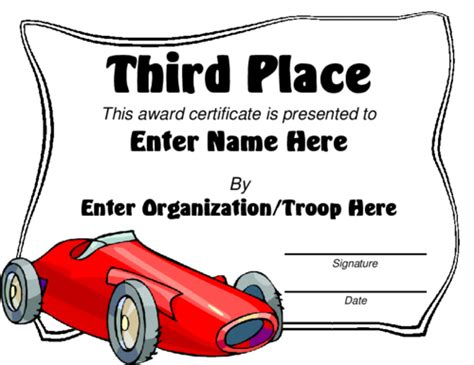 pinewood derby certificate templates award certificate templates