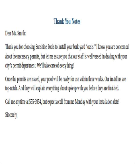 Business Letter Writing Notes 25 Sle Thank You Letter Formats