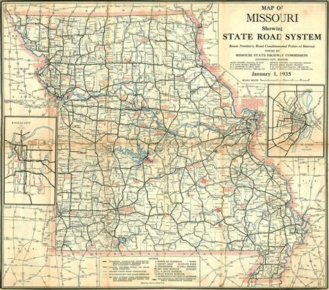 State Of Missouri Records Free Missouri State Highway Road 1935 Historic Map Reprint By Missouri State Highway