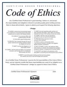 company code of ethics template certified green professional home construction and
