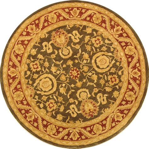 Safavieh Anatolia Charcoal Red 4 Ft X 4 Ft Round Area 4 Foot Rugs