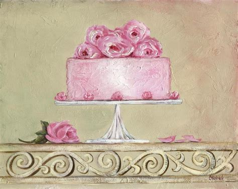 shabby chic pink roses cake painting painting by chris hobel