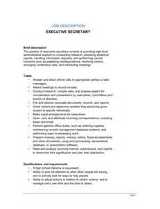 Secretaries Description by Executive Description Template Sle Form Biztree