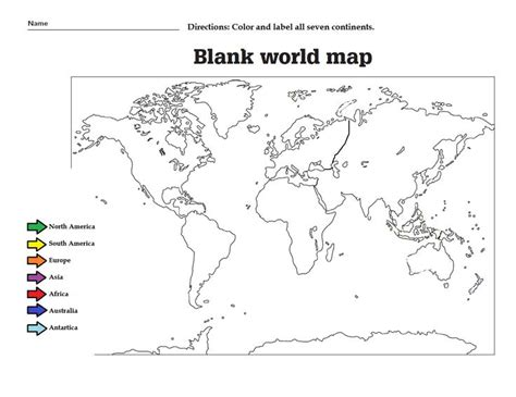 2nd Grade Continents And Oceans Worksheets by Label The The Continents And Color Them Great Worksheet