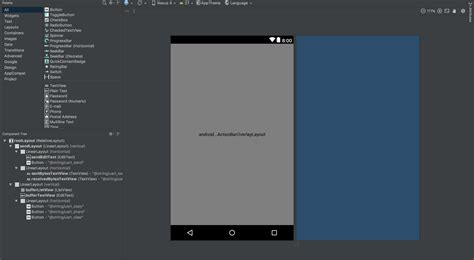 android layout components android getting actionbaroverylaylayout in layout but