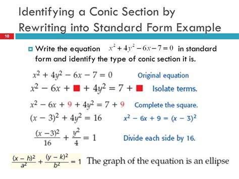 conic sections equations 8 6 conic sections types standard equation forms ppt