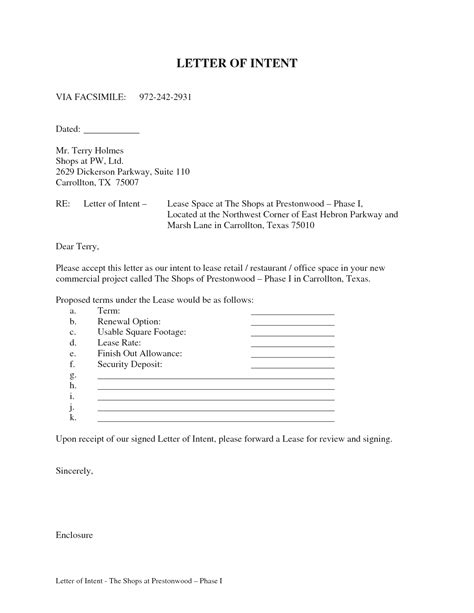 Letter Of Intent To Lease Commercial Space Pdf sle letter of intent to lease commercial premises