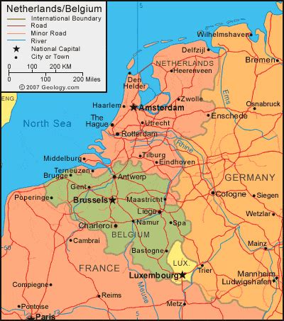 netherlands surrounding countries map netherlands map and satellite image