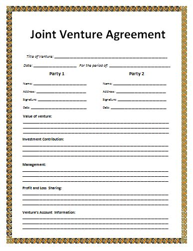 contractual joint venture agreement template agreement templates free word s templates