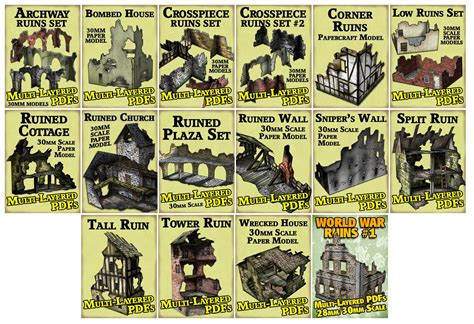 mordheim building templates new paper terrain from dave graffam models