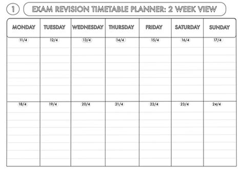 printable revision planner common worksheets 187 printable revision timetable