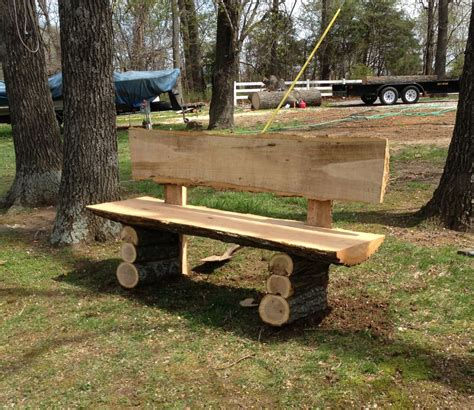 wood log bench country log slab bench log wood projects chana leanne