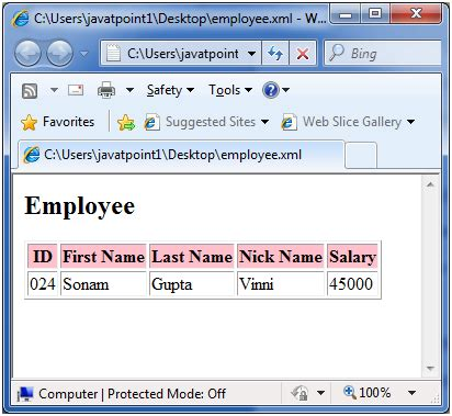 html tutorial at javatpoint xslt element javatpoint
