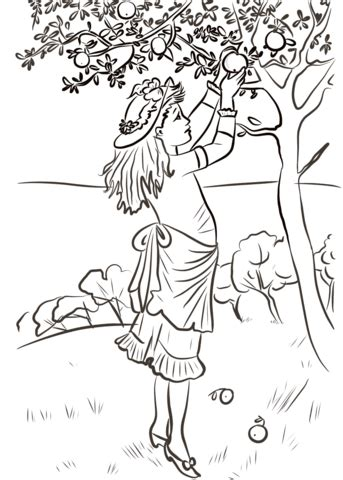 apple picking coloring pages girl picking apples coloring page free printable
