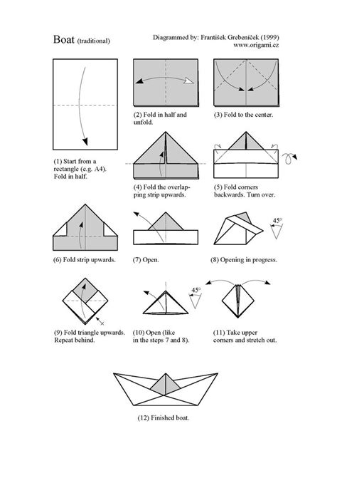 Folding Paper Boats - printable origami paper boat try it