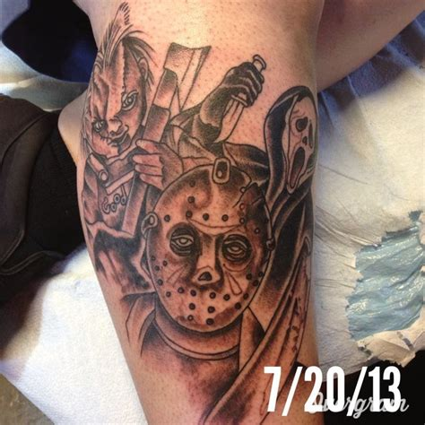 part one of my horror tattoo scream ghostface chucky