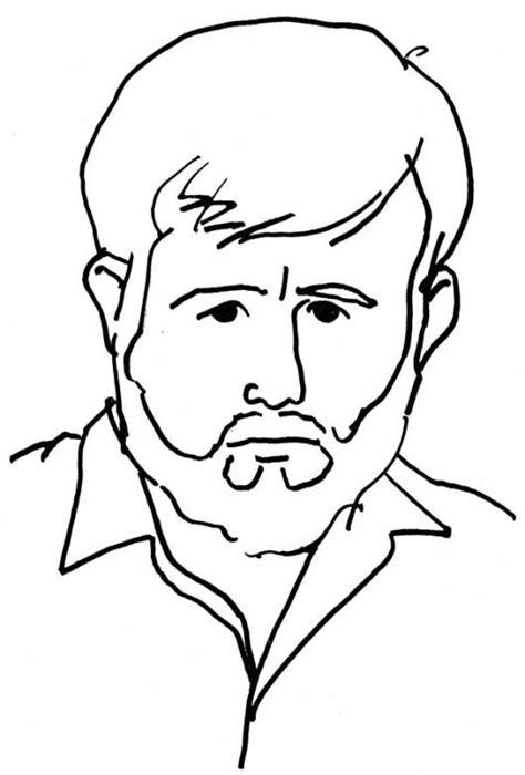 dibujos para nios de hombres para colorear pintar dibujo de hombre barbado triste para pintar y colorear