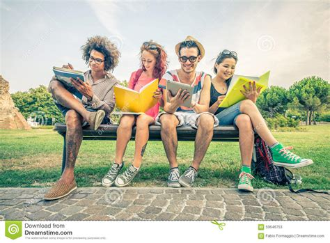 park bench group students studying in a park stock photo image 59646753