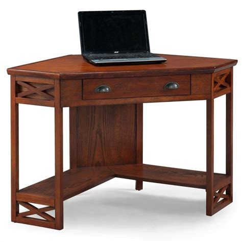 Corner Oak Computer Desk Leick Furniture Corner Computer Desk In Oak 82431