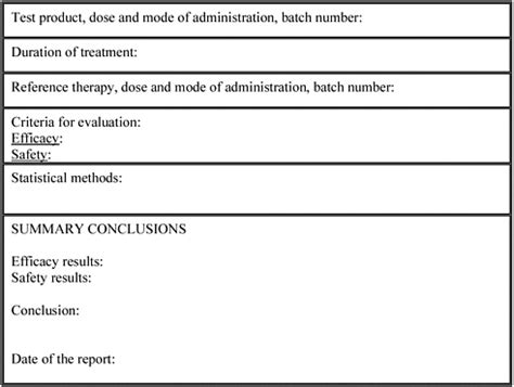 clinical trial report template appendix f illustrative data fields for the results