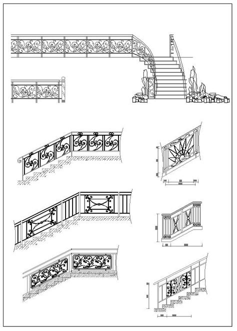 ornamental stair parts  autocad blocksdrawings