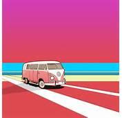 Car Cartoon A4 Print Blue Vw Campervan Retro Splitty Caricature