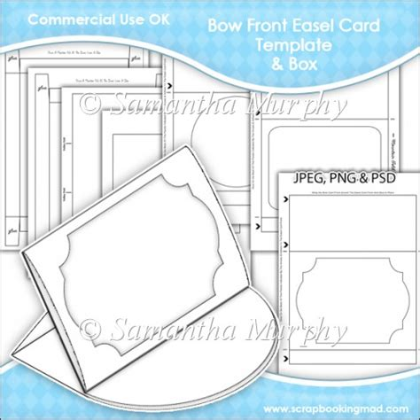 easel box card template bow front easel card box template commercial use ok 163 3