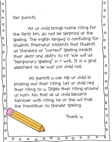 Parent Letter Spelling Parents Spelling And Letter To Parents On