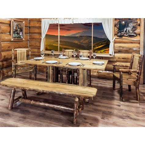 country style table ls montana glacier country pedestal log dining table