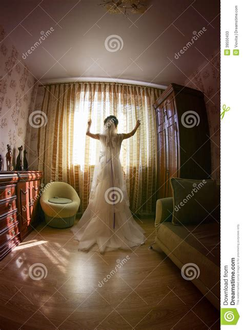 young bride waiting   groom stock image image