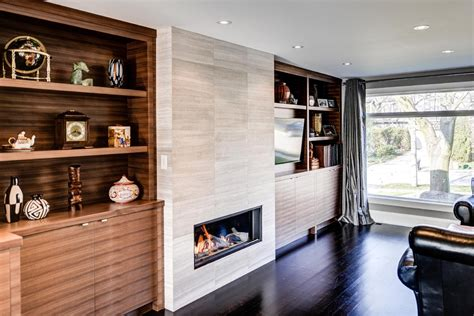 wall mounted gas fireplace Living Room Contemporary with built in wall unit   beeyoutifullife.com