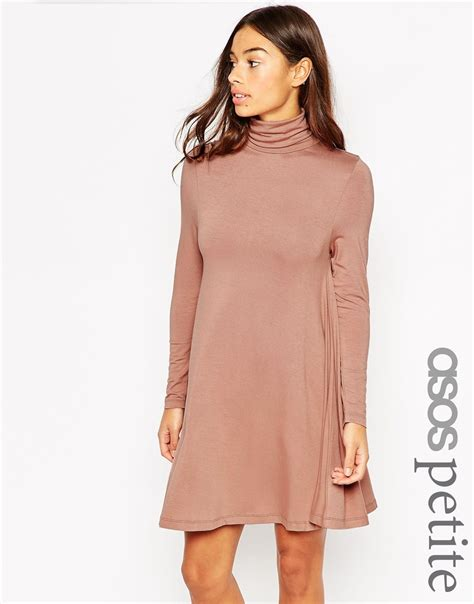 asos petite swing dress asos petite swing dress with polo neck and long sleeves in