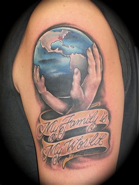 my family is my world this tattoo was done on the band
