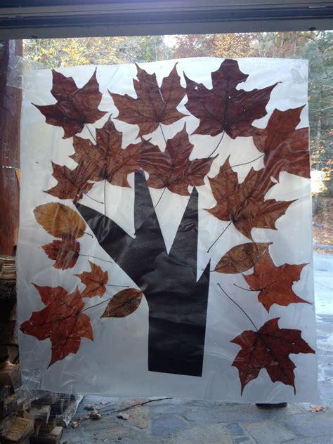 fall leaves window craft