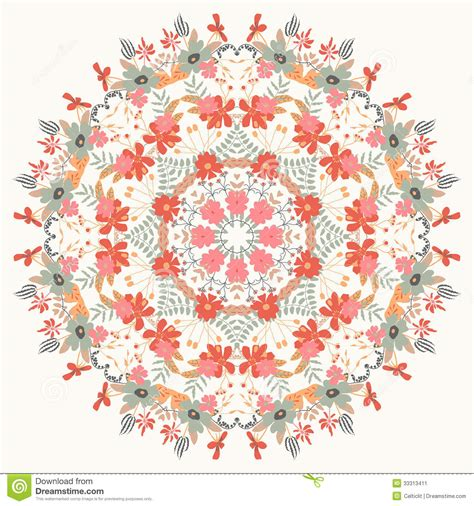 flower pattern in circle ornamental round floral pattern stock vector image 33313411