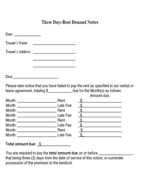 Letter For Rent Past Due free demand letters