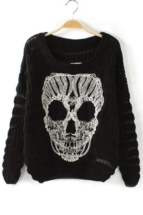 scull sweater skull cutout sweater oasap
