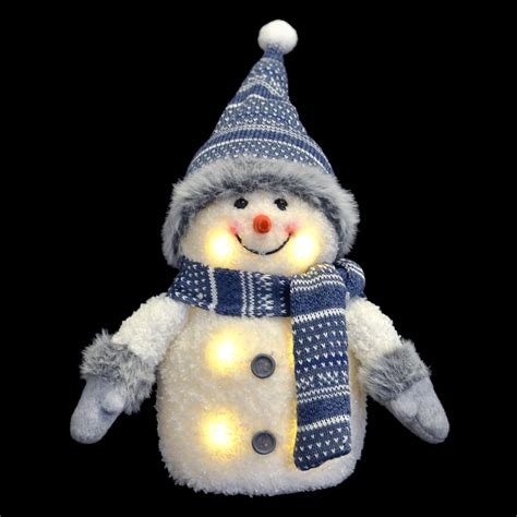 Snowman Decoration White blue white light up snowman decoration with hat