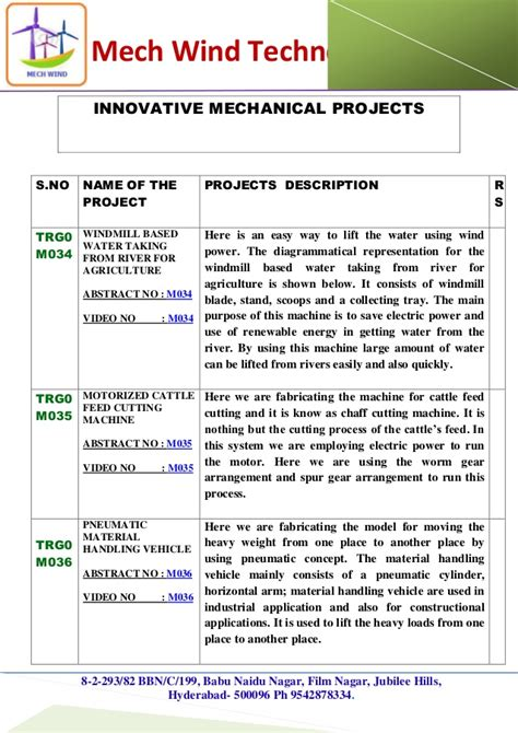 Live Projects For Mba Students In Hyderabad by Mechanical Live Projects List 2015 New Mech Wind