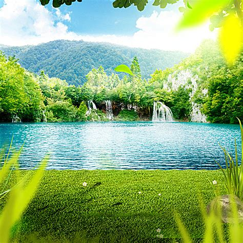 outdoor background outdoor background lake waterfall lawn background image
